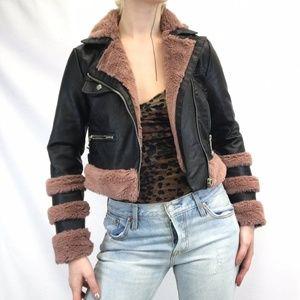 Pink Faux Fur Biker Jacket